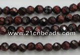 CTE701 15.5 inches 6mm faceted round red tiger eye beads