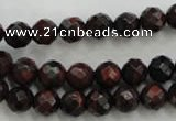 CTE702 15.5 inches 8mm faceted round red tiger eye beads
