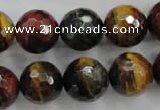 CTE716 15.5 inches 16mm faceted round mixed color tiger eye beads