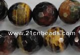 CTE717 15.5 inches 18mm faceted round mixed color tiger eye beads