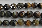 CTE722 15.5 inches 8mm faceted round yellow & blue tiger eye beads