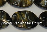 CTE820 15.5 inches 20*30mm wavy oval blue tiger eye beads
