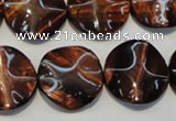 CTE854 15.5 inches 20mm wavy coin red tiger eye beads