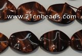 CTE859 15.5 inches 15*20mm wavy oval red tiger eye beads