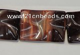 CTE867 15.5 inches 20*30mm wavy rectangle red tiger eye beads