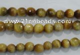 CTE901 15.5 inches 6mm faceted round golden tiger eye beads