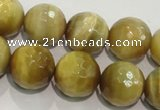 CTE904 15.5 inches 12mm faceted round golden tiger eye beads