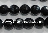 CTE924 15.5 inches 12mm faceted round silver tiger eye beads