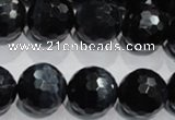 CTE926 15.5 inches 16mm faceted round silver tiger eye beads
