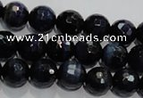 CTE933 15.5 inches 10mm faceted round dyed blue tiger eye beads