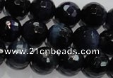 CTE935 15.5 inches 14mm faceted round dyed blue tiger eye beads