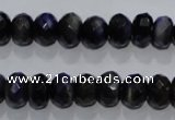 CTE941 15.5 inches 6*10mm faceted rondelle dyed blue tiger eye beads