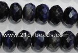 CTE943 15.5 inches 10*14mm faceted rondelle dyed blue tiger eye beads