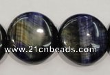 CTE965 15.5 inches 25mm flat round dyed blue tiger eye beads