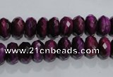 CTE981 15.5 inches 6*10mm faceted rondelle dyed red tiger eye beads