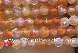 CTG1003 15.5 inches 2mm faceted round tiny red agate beads