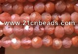 CTG1005 15.5 inches 2mm faceted round tiny south red agate beads