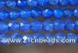 CTG1006 15.5 inches 2mm faceted round tiny blue agate beads