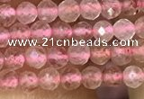 CTG1019 15.5 inches 2mm faceted round tiny strawberry quartz beads