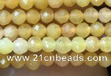CTG1035 15.5 inches 2mm faceted round tiny yellow jade beads