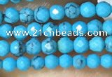 CTG1054 15.5 inches 2mm faceted round tiny turquoise beads