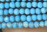 CTG1055 15.5 inches 2mm faceted round tiny turquoise beads