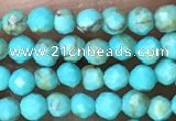 CTG1056 15.5 inches 2mm faceted round tiny turquoise beads