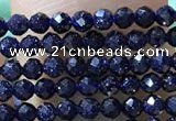 CTG1067 15.5 inches 2mm faceted round tiny blue goldstone beads