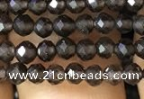 CTG1128 15.5 inches 3mm faceted round tiny smoky quartz beads
