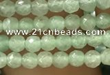 CTG1153 15.5 inches 3mm faceted round tiny green aventurine beads