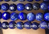 CTG1194 15.5 inches 3mm faceted round tiny dyed lapis lazuli beads