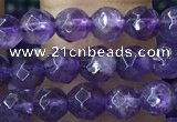 CTG1205 15.5 inches 4mm faceted round tiny amethyst beads