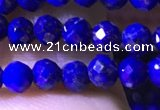 CTG1216 15.5 inches 4mm faceted round tiny lapis lazuli beads
