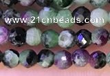 CTG1315 15.5 inches 3mm faceted round ruby zoisite beads