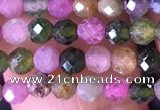 CTG1511 15.5 inches 3mm faceted round tourmaline beads wholesale