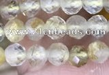 CTG1533 15.5 inches 4mm faceted round golden rutilated quartz beads