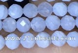 CTG1553 15.5 inches 4mm faceted round blue lace agate beads