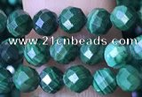 CTG1562 15.5 inches 4mm faceted round malachite beads wholesale