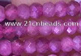 CTG1642 15.5 inches 3*4mm faceted rondelle tiny pink tourmaline beads