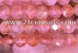CTG1647 15.5 inches 3mm faceted round tiny strawberry quartz beads