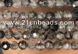 CTG2132 15 inches 2mm,3mm faceted round black rutilated quartz beads