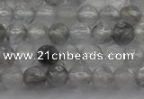 CTG220 15.5 inches 3mm faceted round tiny cloudy quartz beads