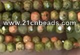 CTG2252 15 inches 2mm faceted round unakite gemstone beads
