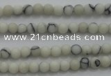 CTG250 15.5 inches 2mm round tiny white howlite turquoise beads