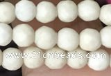 CTG3545 15.5 inches 4mm faceted round white fossil jasper beads