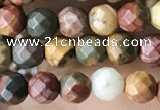 CTG3552 15.5 inches 4mm faceted round picasso jasper beads