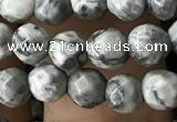 CTG3559 15.5 inches 4mm faceted round grey picture jasper beads