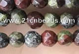 CTG3562 15.5 inches 4mm faceted round dragon blood jasper beads