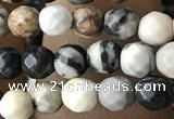 CTG3563 15.5 inches 4mm faceted round black picasso jasper beads