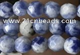 CTG3572 15.5 inches 4mm faceted round blue spot stone beads